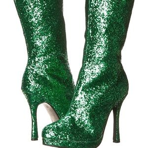 Shoes - Green Glitter Boots
